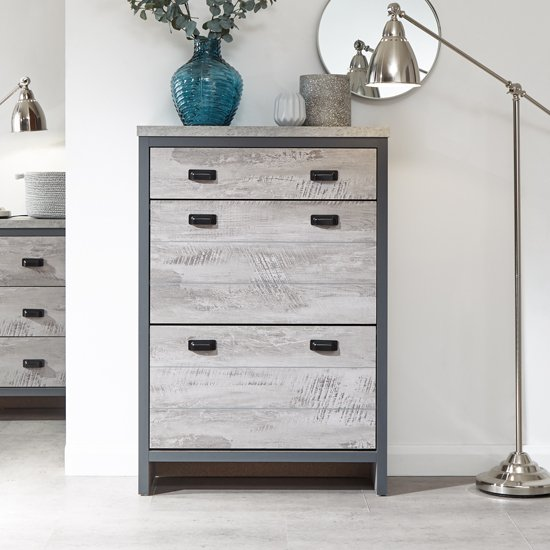 View Olivares wooden shoe storage cabinet in grey with 2 tiers 1 drawer