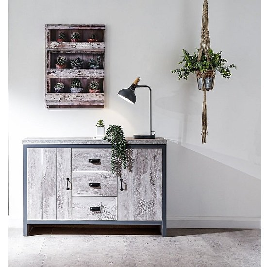 View Olivares sideboard in grey with 3 drawers and 2 doors
