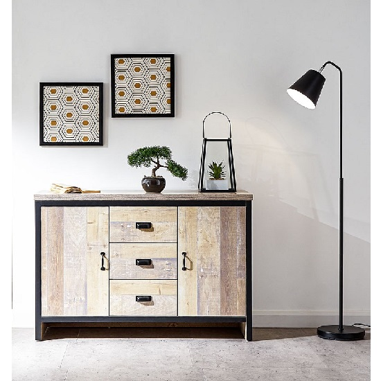 Olivares Sideboard In Oak With 3 Drawers And 2 Doors