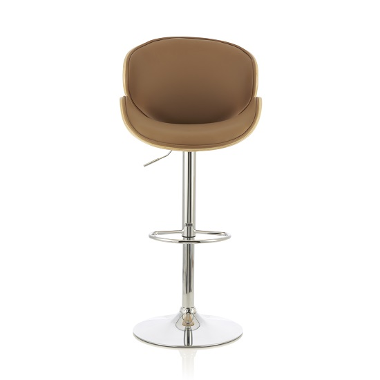 Oliver Bar Stool In Oak And Beige PU With Chrome Base