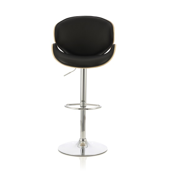 Oliver Bar Stool In Oak And Black PU With Chrome Base