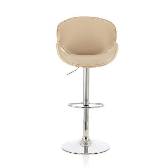 Oliver Bar Stool In Oak And Cream PU With Chrome Base
