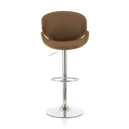 Oliver Bar Stool In Walnut And Beige PU With Chrome Base