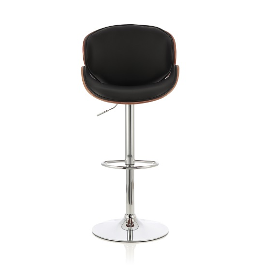 Oliver Bar Stool In Walnut And Black PU With Chrome Base