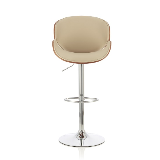 Oliver Bar Stool In Walnut And Cream PU With Chrome Base