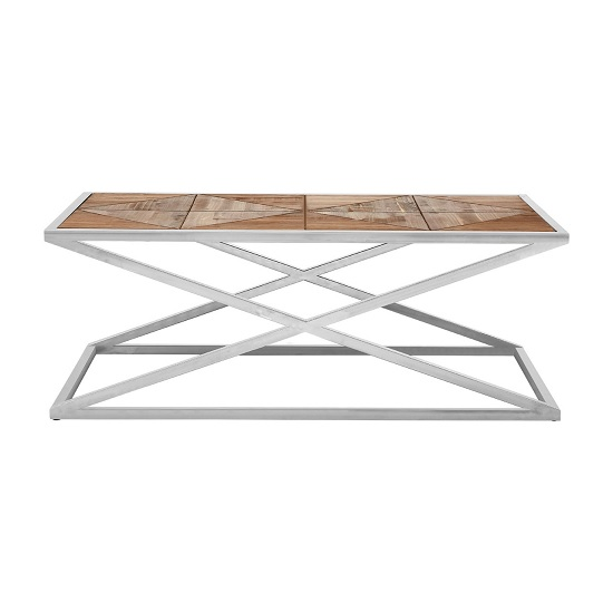 Oliver Wooden Coffee Table With Stainless Steel Base