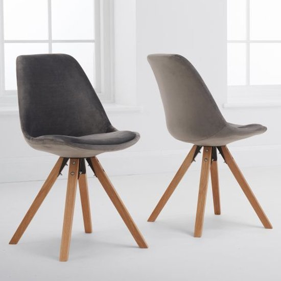 Olivery Grey Velvet Dining Chairs With Oak Leg In A Pair