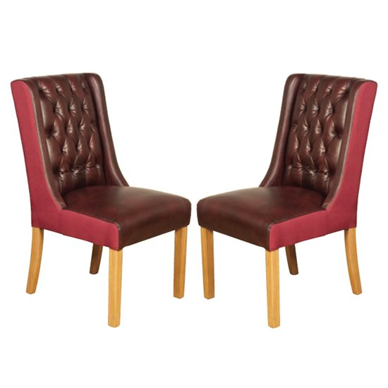 Olivia Burgundy And Plum Leather Dining Chair In Pair