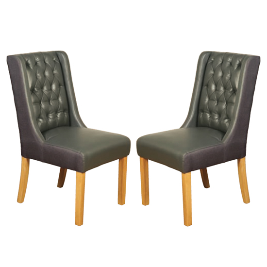 Olivia Grey Leather Dining Chair In Pair