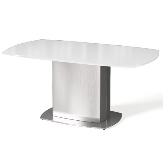 Olivia Super White Glass Coffee Table With Stainless Steel Base