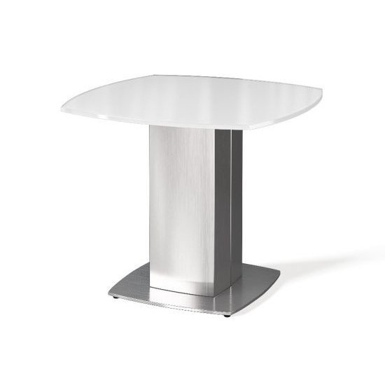 Olivia Super White Glass Side Table With Stainless Steel Base