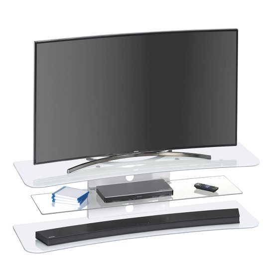 Olivia TV Stand Rectangular In White Glass
