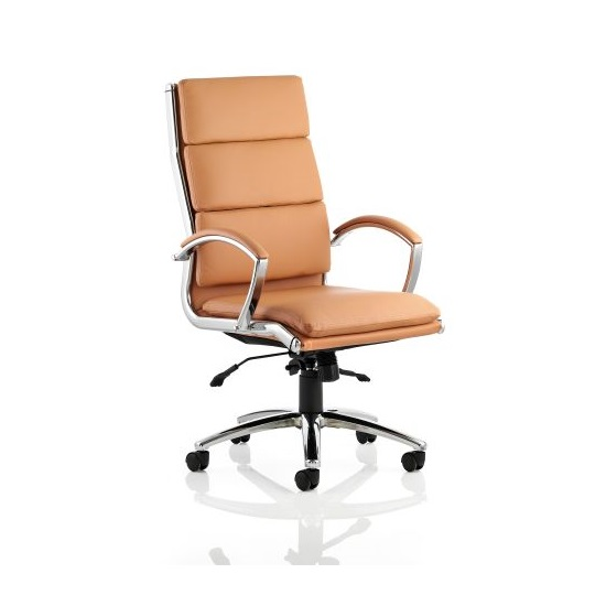 Olney Bonded Leather Office Chair In Tan With Arms High Back