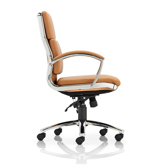 Olney Bonded Leather Office Chair In Tan With Medium Back_3