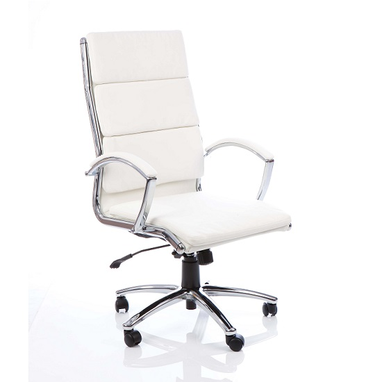 Olney Bonded Leather Office Chair In White With Arms High Back