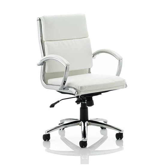 Olney Bonded Leather Office Chair In White With Medium Back_1
