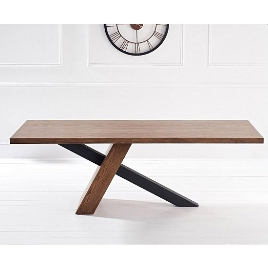 Olsen 225cm Dining Table Rectangular In Dark Oak And Metal Legs