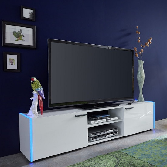 Olsen TV Stand In White Lacquer With 2 Doors And LED Lighitng