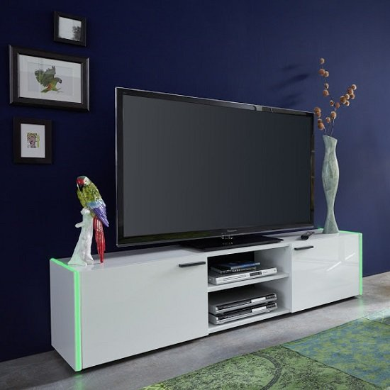Olsen TV Stand In White Lacquer With 2 Doors And LED Lighitng_3
