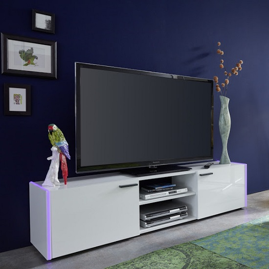 Olsen TV Stand In White Lacquer With 2 Doors And LED Lighitng_4