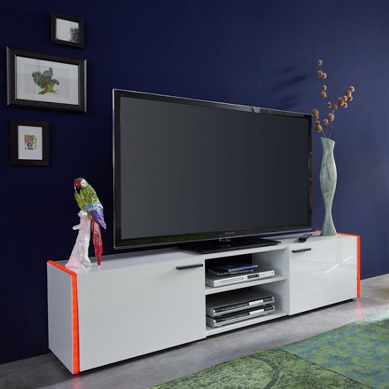 Olsen TV Stand In White Lacquer With 2 Doors And LED Lighitng_5
