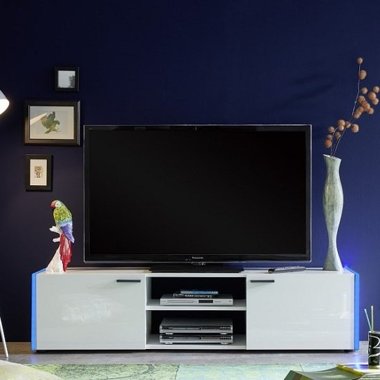 Olsen TV Stand In White Lacquer With 2 Doors And LED Lighitng_6