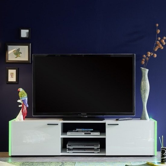 Olsen TV Stand In White Lacquer With 2 Doors And LED Lighitng_7