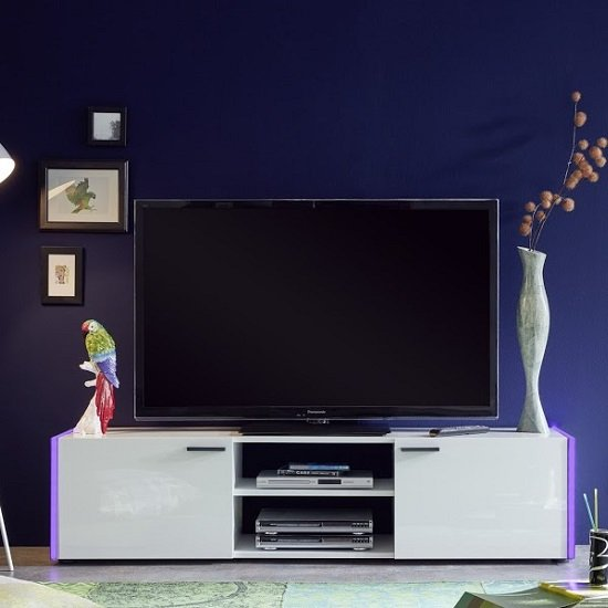 Olsen TV Stand In White Lacquer With 2 Doors And LED Lighitng_8