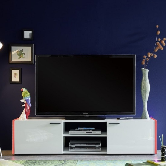 Olsen TV Stand In White Lacquer With 2 Doors And LED Lighitng_9