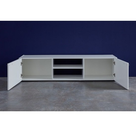 Olsen TV Stand In White Lacquer With 2 Doors And LED Lighitng_2