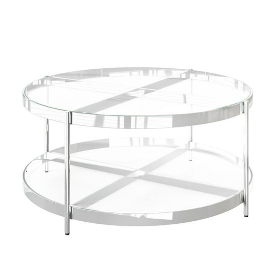 Omari Glass Coffee Table With Stainless Steel Base
