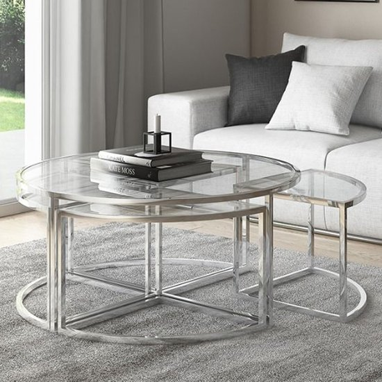 Omari Grande Glass Coffee Table Set With Stainless Steel Base