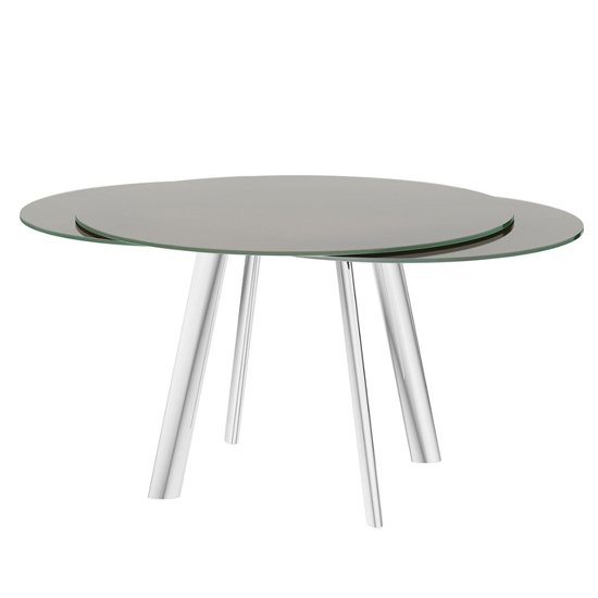 Omega Swivel Extending Taupe Glass Dining Table_2