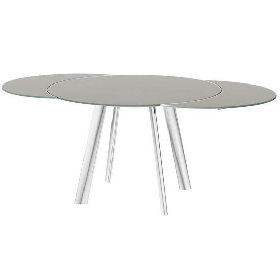 Omega Swivel Extending Taupe Glass Dining Table