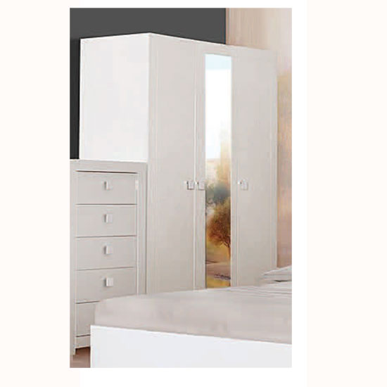 Omega Wardrobe In White High Gloss With 3 Door And Mirror