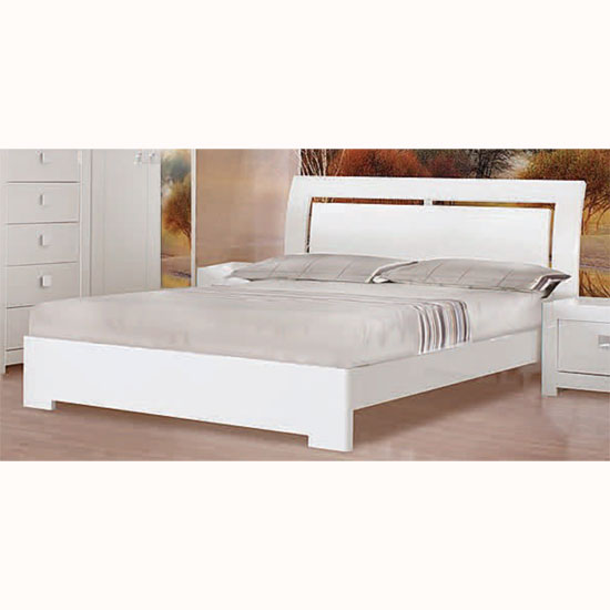 White Double Bed : Madrid White High Gloss Double Bed - Beds, Single, Double, Bunk Beds ...