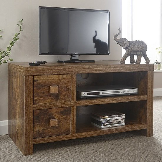 Omero Contemporary Wooden TV Stand With 2 Drawers_1