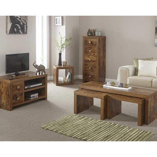 Omero Contemporary Wooden TV Stand With 2 Drawers_2