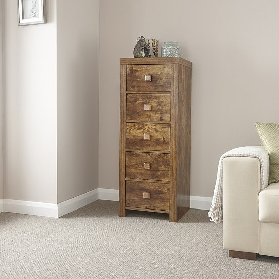 Omero Wooden Tall Chest Of Drawers With 5 Drawers