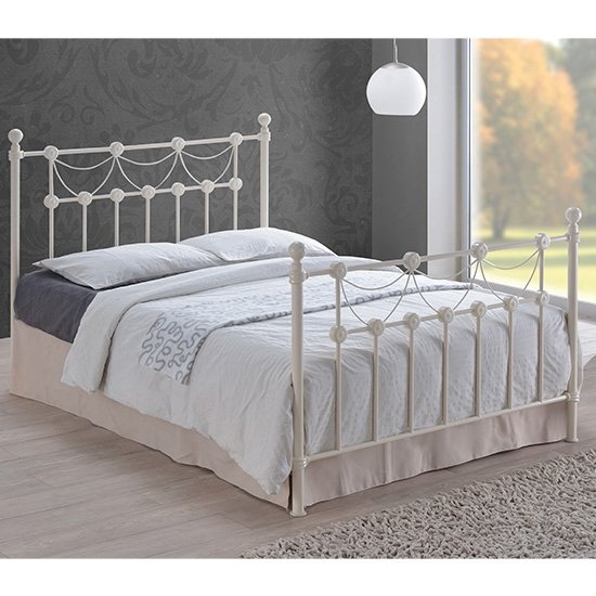 Omero Vintage Style Metal Double Bed In Ivory