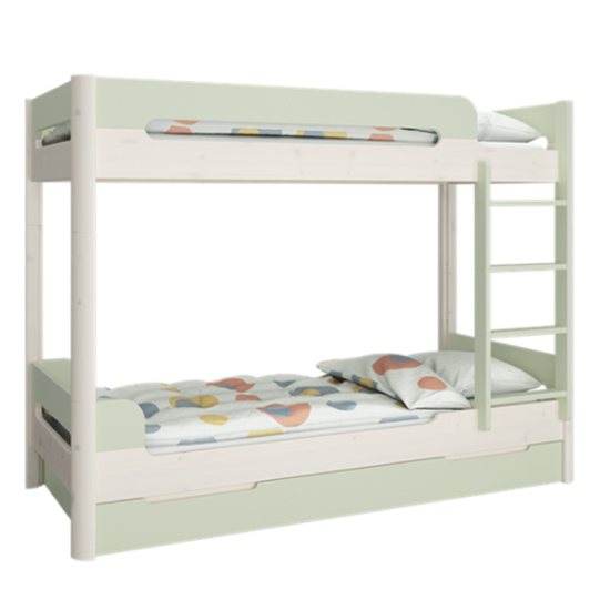Oniria Wooden Bunk Bed With Guest Bed In Whitewash Green