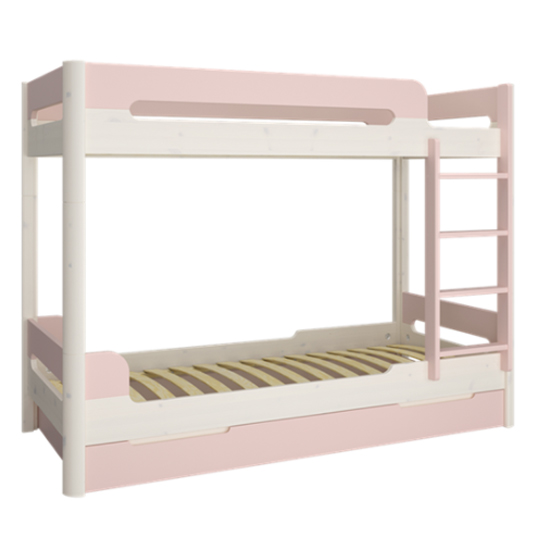 Oniria Wooden Bunk Bed With Guest Bed In Whitewash Pink_2