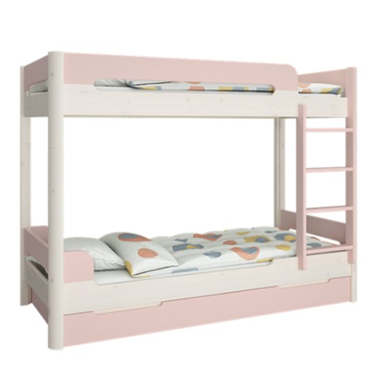 Oniria Wooden Bunk Bed With Guest Bed In Whitewash Pink_1