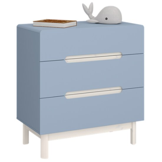 Oniria Wooden Chest Of Darwers In Whitewash Blue With 3 Drawers