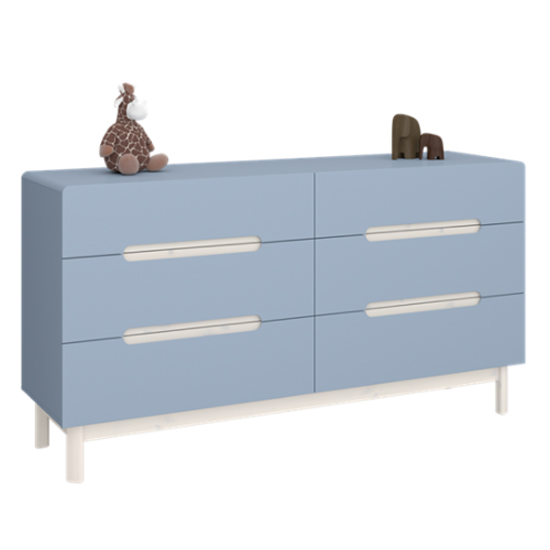 View Oniria wooden chest of darwers in whitewash blue with 6 drawers