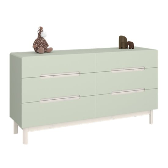 View Oniria wooden chest of darwers in whitewash green with 6 drawers