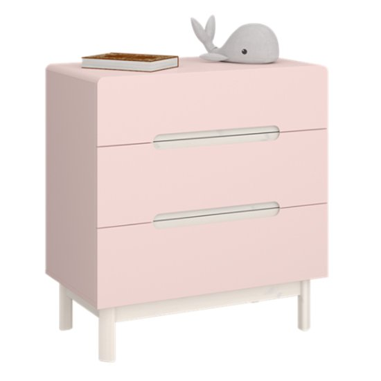 Oniria Wooden Chest Of Darwers In Whitewash Pink With 3 Drawers
