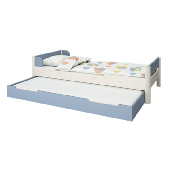 Oniria Wooden Single Bed With Guest Bed In Whitewash Blue