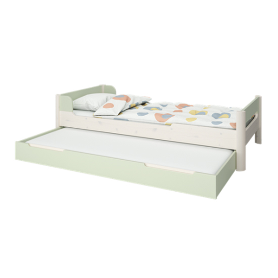 Oniria Wooden Single Bed With Guest Bed In Whitewash Green
