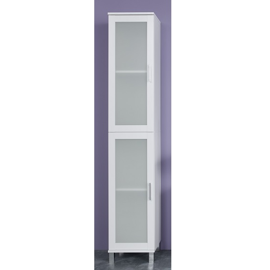 Onix Bathroom Cabinet In White And Glass Fronts With 2 Doors